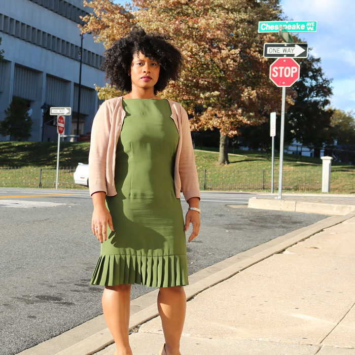 classic olive sheath dress